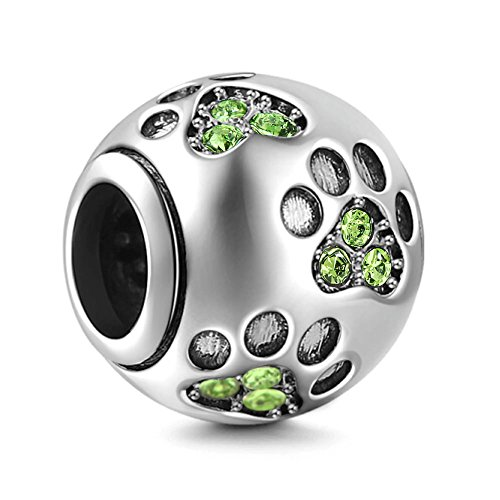 Dog Paw Print Charms 925 Sterling Silver Animal Birthstone Crystal Charms for 3mm Snake Chain Bracelets (Peridot)