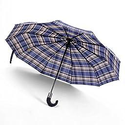 Blue Japanese Three Elephants Plaid Style Automatic Three Fold 10 Ribs Men Windproof Clear Rain Umbrellas