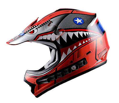(WOW Youth Kids Motocross BMX MX ATV Dirt Bike Helmet Shark Red; S (49-50 CM,19.3/19.7 Inch))