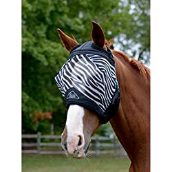 Shires Fine Mesh Fly Mask with Ear Hole - Zebra - Cob
