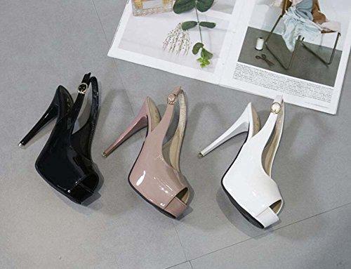 Eu Belt Zapatos 34 Toe vestir 13 Stiletto Court Shoes Negro Onfly Bomba Sandalias Mujeres Buckle de cm Tamaño 40 Peep Slingbacks Color Zapatos Boda OL de Pure 0Bq6S