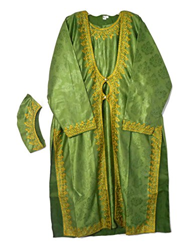 Decoraapparel African Traditional Ethnic Clothing Women Long Embroidered Jacket Dress & Headpiece Bright Color (Green, Plus Size)