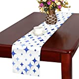 Jnseff Star Curved Blue Abstract Shape Table Runner, Kitchen Dining Table Runner 16 X 72 Inch For Dinner Parties, Events, Decor