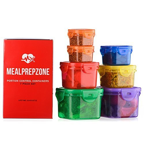 (Meal Prep Zone 7 Piece Multi-Colored Portion Control Containers with Guide and Snap-Lids)