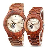 Men Women Wooden Watches,Automatic Mechanical Watch Natural Wood Band Wristwatch,Luxury Gift for Couples