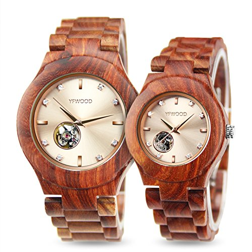 Men Women Wooden Watches,Automatic Mechanical Watch Natural Wood Band Wristwatch,Luxury Gift for Couples by THAITOO