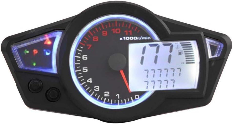 DC 12V Universal 15000RPM Motorcycle LCD Digital Odometer Speedometer Tachometer with Speed Sensor