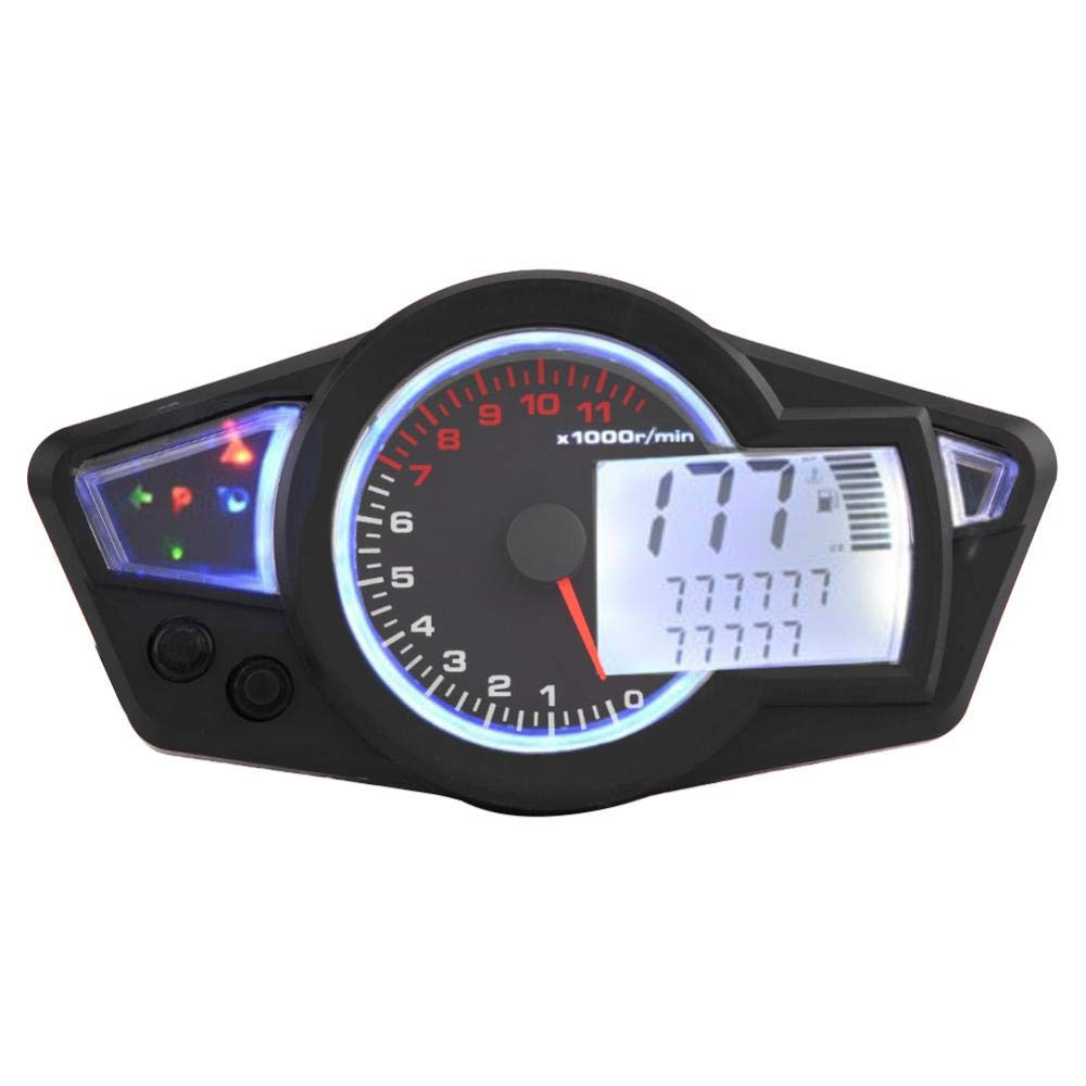 Acouto Universal 15000RPM Motorcycle LCD Digital Odometer Speedometer Tachometer with Speed Sensor