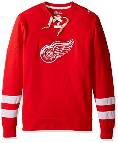 Pullover Mens Long Sleeve - NHL Detroit Red Wings Men's Centre Long Sleeve Crew Neck Pullover Sweatshirt, Medium, Athletic Red/Red/White