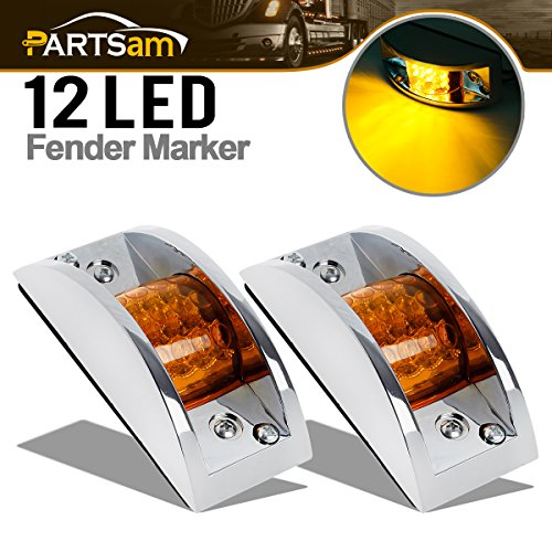 (Partsam (2) Truck Trailer Amber 12 LED Chrome Plated Led Marker/Clearance Running Lights Sealed)