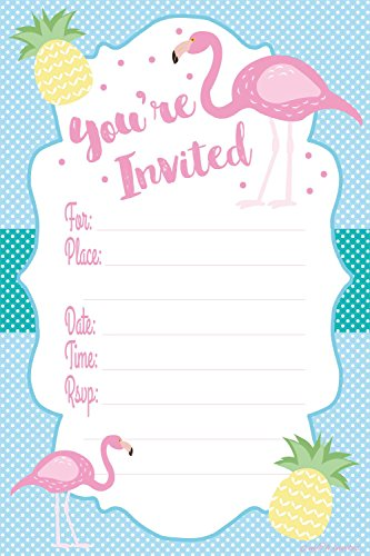 Flamingo Luau Party Invitations - Fill In Style (20 Count) With Envelopes
