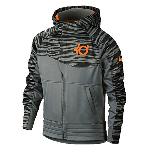 Boy's Nike KD Full-Zip Basketball Hoodie (X-Small, Tumbled Grey/Bright Citrus)