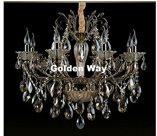 New Arrival Brass Color Crystal Chandelier Zinc Alloy Chandelier Classic Crystal Luster Lighting for Foyer Cristal Candle - Chrome Chandelier 8l Crystal