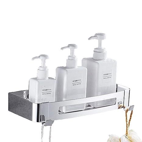 HomeYoo Estante para baño, estanteria para Ducha montado en la Pared, Acero Inoxidable 304 con 2 Ganchos para Colgar Accesorios de baño, Estantería de ...