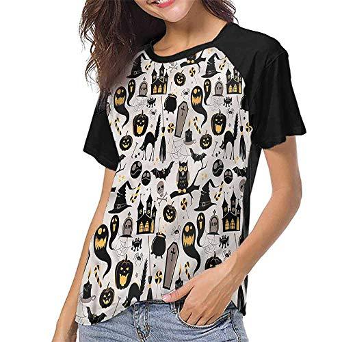 T Shirt Print Girls Tee,Vintage Halloween,Tombstone Skulls S-XXL T Shirt Print Short Sleeve]()