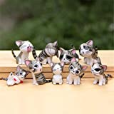 Chi Cat Toys, 9 Pcs Japanese Cute Chis Sweet Home Cats Dolls Animal Figures Collection Toy Set For Miniature Garden Decoration(Gray)