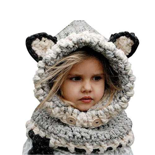 Sunroyal Kids Warm Fox Animal Hats Knitted Coif Hood Scarf Beanies Winter,Grey ()