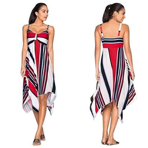 Womens Summer Dresses Strap V Collar Party Holiday Beach Sundress Long Dress (L, Blue)