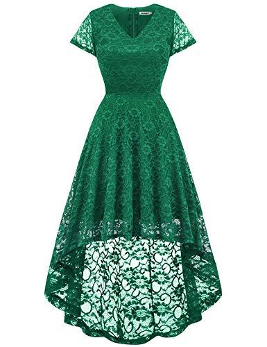 Bbonlinedress Women's Floral Lace Hi-Lo Cap Sleeve Formal Cocktail Party Dresses Green M ()