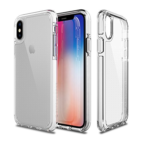 PATCHWORKS iPhone X Clear Case, [Pure Shield EX] Smudge-Free Back TPU Bumper Elastomer Air Pocket Corner Military Drop Protection Shockproof Protective Case for iPhone X / 10 - White Clear