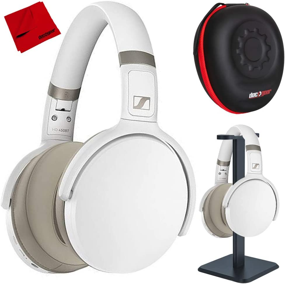 Sennheiser 508387 HD 450BT Wireless Around Ear Headphones with Bluetooth 5.0, White Bundle with Deco Gear Pro Audio Headphone Stand, Hard Body Pro Headphone Case and Microfiber Cleaning Cloth