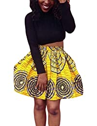 Dearlovers Women African Print High Waist A Line Short Skirt