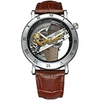 Shaarms Automatic Wristwatch Transparent Dial Mechanical Leather Watches Men's Analog Watch L1003 SBrown