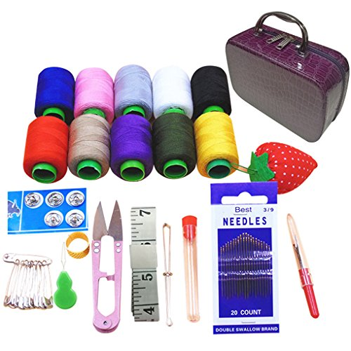 (Coralpearl Deluxe Basic Sewing Kit Box Small Vintage Storage Bag Organizer for Girl Kids,Women Men Adults,Travel,Beginners,Emergencies with Handmade Quality Supplies and Notions (Dark Purple))