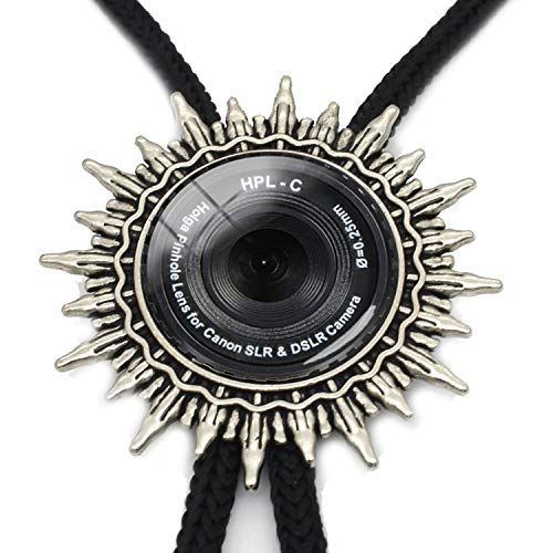 JIA-WALK Antique Camera Lens Tag Bolo Tie Glass Cabochon Pendant Gray Black Jewelry Excellent Gift for Camera Lover,T4 from JIA-WALK