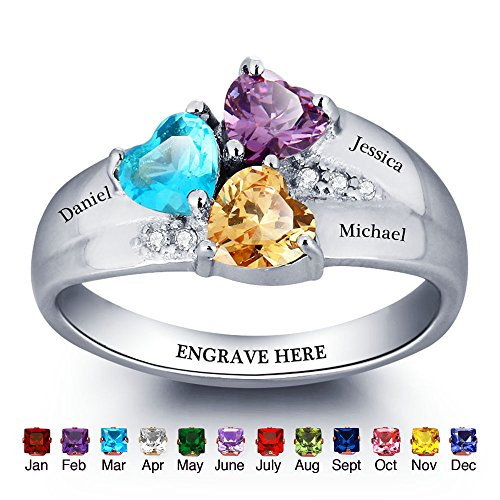 Personalized Mom Rings with 3 Children Simulated Birthstones and Names Engraved Family Jewelry Gift (3 Stone Mom Ring)