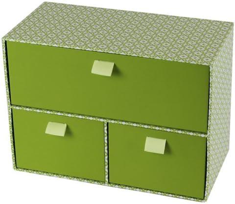 JVL – Caja Decorativa de almacenaje con 3 cajones, cartón, Estilo Retro, con Cintas, Color Verde: Amazon.es: Hogar