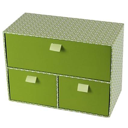 JVL– Caja Decorativa de almacenaje con 3 cajones, cartón, Estilo Retro,