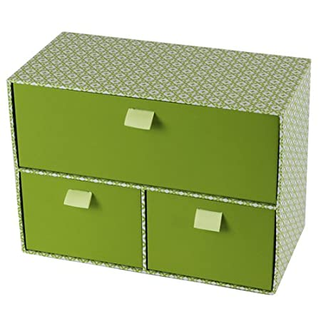 JVL 3 Drawer High Quality Grade Cardboard Retro Decorative Storage Box With  Ribbon Handles,