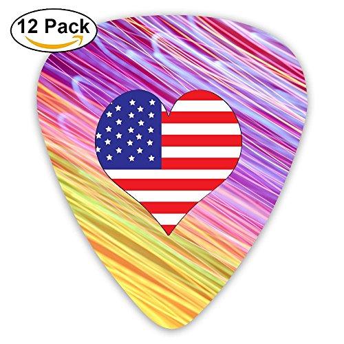 American-flag-heart-clipart Sampler Guitar Picks - 12 Pack Complete Gift Set For Guitarist Best Gift For Guitarist
