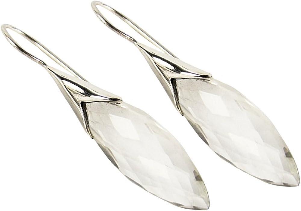 Unique pendientes para la mujer cristal de roca plata de ley 925 joyeria de calidad