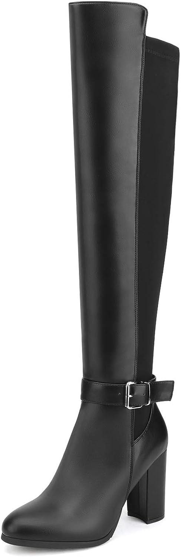 DREAM PAIRS Women's Chunky Heel Knee High Winter Boots
