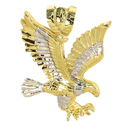 IcedJewels 14K Yellow Gold Eagle NO CZ Stones Diamond Cut Designer Flying Eagle Claws Large (14k Gold Eagle Claws)