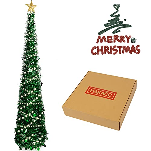 HAKACC 5 FT Christmas Tree, 2 Flash Modes Artificial Christmas Tree with 5 M LED Light for Home Holiday Party Decorations, Easy Assembly, Green