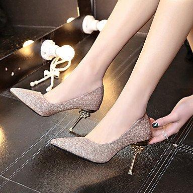 Femmes Chaussures PU 2-2 3/4 Confort Talons Renforcement Talon Talon Aiguille Pour Casual Gold Silver STWhiO