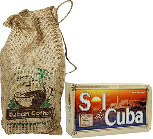 Cafe Sol de Cuba 8 oz vacuum pack .Includes burlap bag