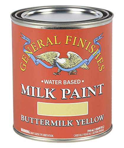 General Finishes QBY Water Based Milk Paint, 1 Quart, Buttermilk - Finish Buttermilk
