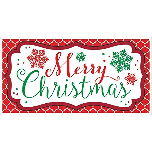 (amscan Merry Christmas Plastic Banner | Holiday Decoration)