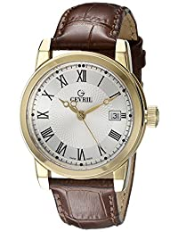 Gevril Men's 2525 Park Analog Display Swiss Quartz Brown Watch