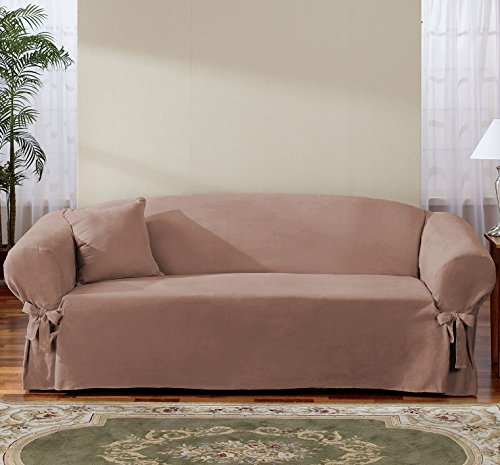 Sure Fit Soft Suede 1-Piece  - Sofa Slipcover  - Sable (SF34544) - Furniture Covers Soft Suede