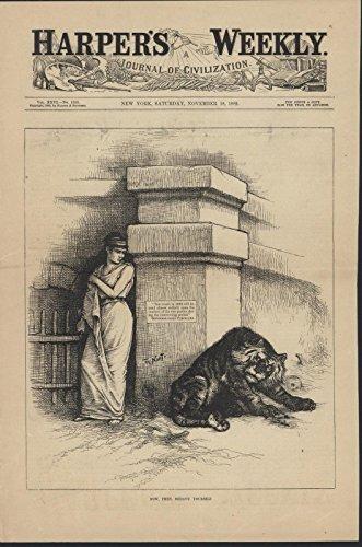 Columbia Democrat Tiger Pit by Nast 1882 antique wood engraved print