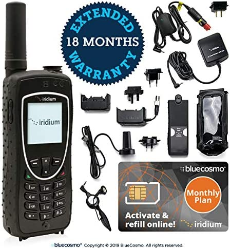 BlueCosmo Iridium Extreme Satellite Phone & Monthly Service Plan SIM Card – Voice, SMS Text Messaging, GPS Tracking, Emergency SOS – Online Activation – 24/7
