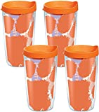 Tervis 1095186 Clemson Tigers Colossal Tumbler with Wrap and Orange Lid 4 Pack 16oz, Clear
