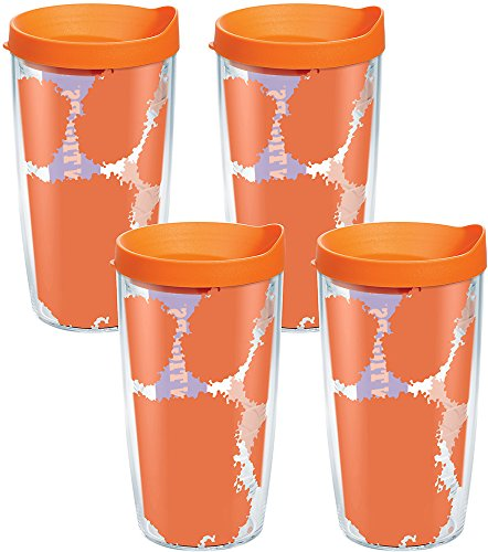 Tervis 1095186 Clemson Tigers Colossal Tumbler with Wrap and Orange Lid 4 Pack 16oz, Clear by Tervis