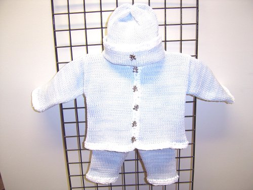 Cpk641bw, Knitted on Hand Knitting Machine Then Finished By Hand Crochet Infant Boys Outfit, Containing White, Blue Tweed Cotton Boys Cardigan Sweater, Pant, Hat Set