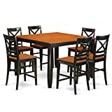 East West Furniture FAQU7H-BLK-W 7 Piece Dining Table and 6 Kitchen Bar Stool Set Review